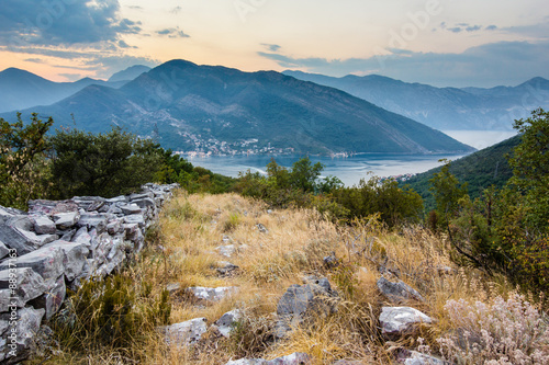 Tuinposter Canyon sunset landscape in mountains of Kotor bay in Montenegro