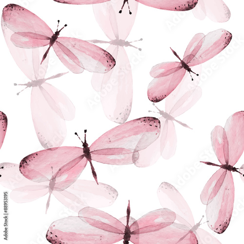 Cotton fabric The pattern of butterflies. Seamless vector background. Watercolor illustration 10