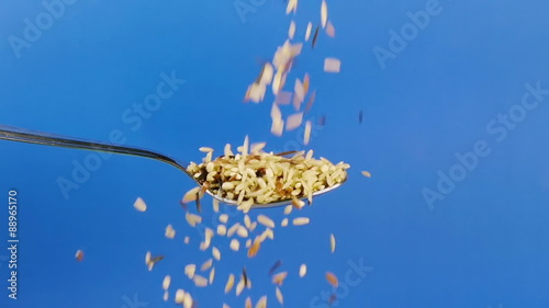 poster of Wild Rice Dropped On Spoon Slow Motion. Shot at 60p conformed to 24p.