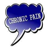 Chronic Pain white stamp text on blueblack Speech Bubble poster