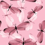 The pattern of butterflies. Seamless background. Watercolor illustration 10