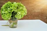 Green hydrangea bouquet. Autumn wedding flower decoration