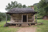 Typical Appalachian mountain log cabin
