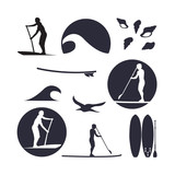 vector illustration of stand up paddling silhouette icon set in