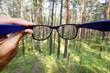 optical eyeglasses in the hand over blurred forest background