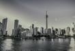 Toronto Skyline Black and White. The Toronto, Canada city skyline black and white.