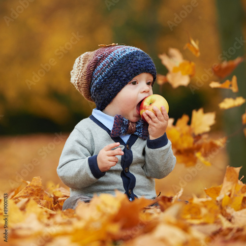 Poster cute little baby in autumn park
