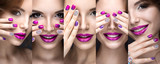 Fototapety Beautiful girl with a bright evening make-up and pink manicure