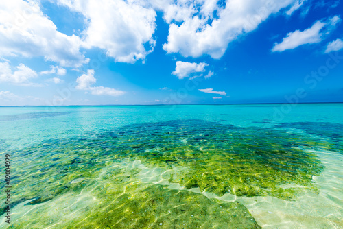 Blue sky and the emerald green sea, Okinawa, Japan