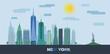 Obrazy na płótnie, fototapety, zdjęcia, fotoobrazy drukowane : The landscape of skyscrapers of New York City with the statue of liberty. Vector flat illustration .