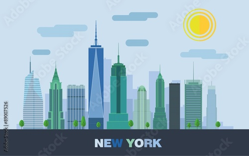 The landscape of skyscrapers in New York. Vector flat illustration.