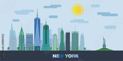 The landscape of skyscrapers of New York City with the statue of liberty. Vector flat illustration .
