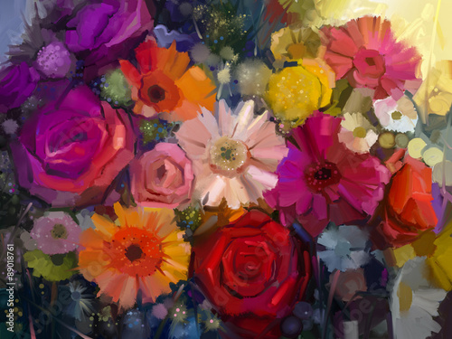 Obraz na Plexi Still life of yellow, red and pink color flower. Oil Painting - Colorful Bouquet of rose, daisy and gerbera flowers. Hand Paint floral Impressionist style.