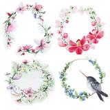 Fototapety Set of Flowers wreath watercolor
