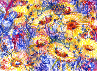 overgrown dandelions closeup, abstract watercolor background