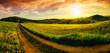 Leinwandbild Motiv Rural landscape sunset panorama