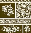 Set of floral decorative patterns. Vector illustration