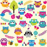 owls and elements clip art set