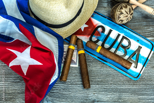 Foto op Aluminium Havana Cuban concept table of some related items
