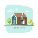 Modern house. Vector illustration for your design and Infographic template.