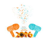 merry christmas and happy new year musical  doodle art colorful poster