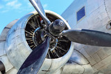 the propeller with  engine on wing of old aircraft