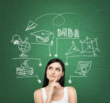 A young lady is thinking about MBA degree. Educational chart is drawn behind her. A concept of further business education. Green chalkboard as a background. poster