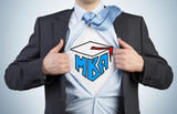 Successful young student is tearing the shirt. Business education icons are drawn on the chest. A concept of the MBA degree. poster