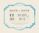Fototapety Save the date with watercolor frame