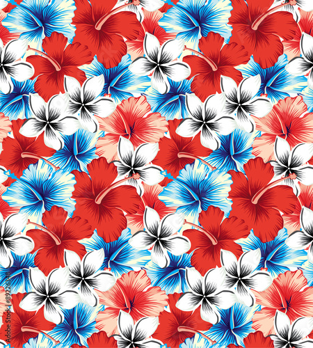 hibiscus red and blue seamless background