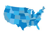 Fototapety blue vector map of United States