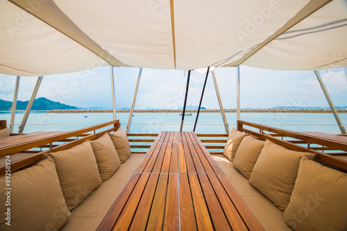 luxury wooden seat on the yacht Poster