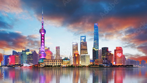 Foto op Canvas Shanghai China - Shangahi skyline