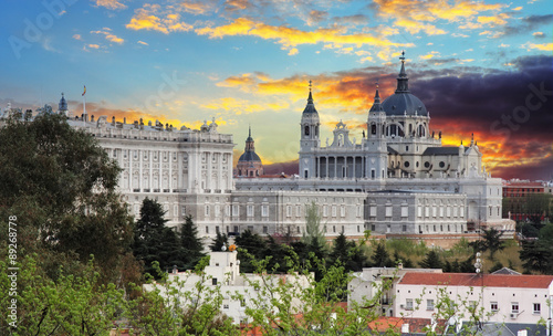 Foto op Canvas Madrid Madrid, Almudena Cathedral and Royal Palace - Spain