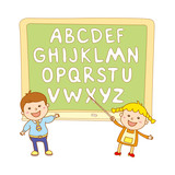 kids school art  boy, abc, alphabet, aducation, poster
