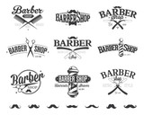 Fototapety Typographic Barber Shop Emblems