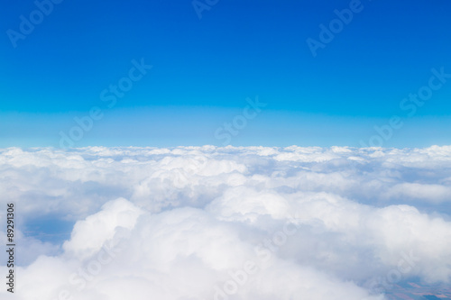 Blue sky with white clouds, aerial photography - 89291306