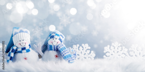 Snowman and Christmas decorations Poster