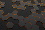 Fototapety Abstract 3D Rendering of Surface with Hexagons.