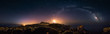 360° rectilinear panoramic view of starry night with milky way arc and lighthouse of Capo Spartivento