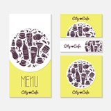 Set of identify cards templates with doodle drinks. Cafe poster