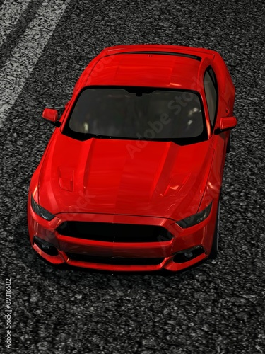 modern muscle car on street - front view