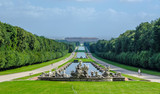 2 kilometers long promenade leading through gardens of imperial palace in caserta is decorated by many fountains and statues from bernini and ends by artificial waterfall.