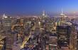 New York City skyline at dusk, NY, USA