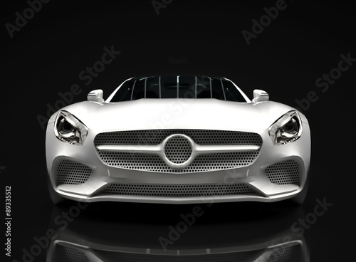 Foto op Canvas Snelle auto s Sports car front view. The image of a sports white car on a
