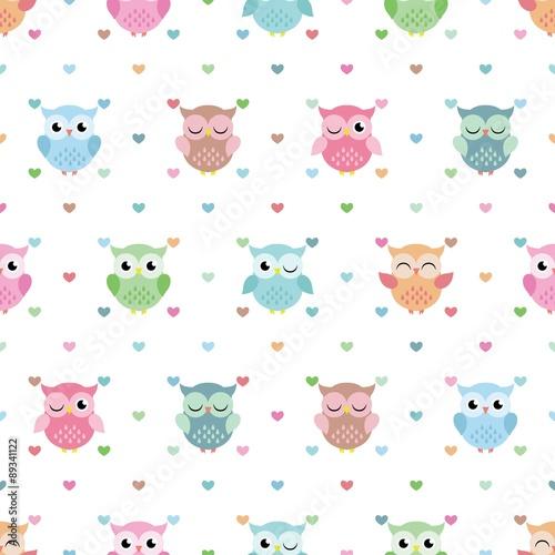 Naklejka Lovely Owl Pattern