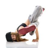 Teen girl hip-hop dancer over white background - 89366117