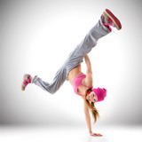 Teen girl hip-hop dancer, studio shot - 89366159