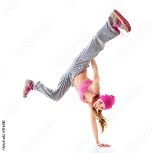 Teen girl hip-hop dancer over white background Poster