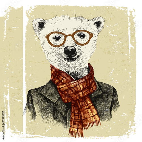 Hand drawn dressed up hipster bear in glasses - 89375397